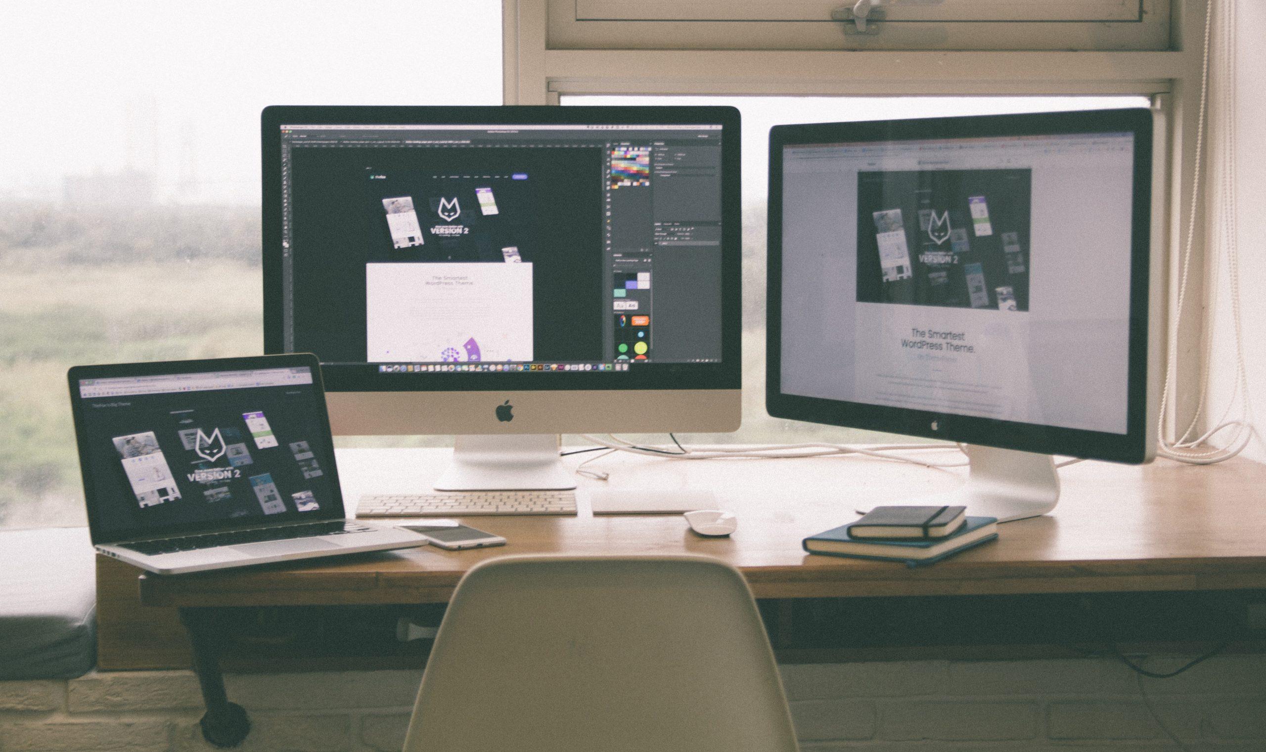 Website development on a computer